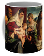 Sacra Conversatione With Ss Catherine Sebastian And Holy Family Coffee Mug