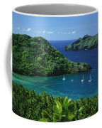 Sailboats Anchored In A Cove Of Blue Coffee Mug by Tim Laman