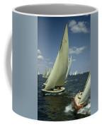 Sailboats Cross A Starting Line Coffee Mug by B. Anthony Stewart
