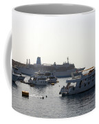 Sailing Boats And A Large Yacht In The Harbour At Sharm El Sheikh Coffee Mug