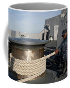 Sailors Handle Mooring Lines Aboard Uss Coffee Mug