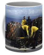Sailors Prepare Pallets Of Cargo Aboard Coffee Mug