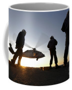 Sailors Watch A Helicopter Lift Coffee Mug
