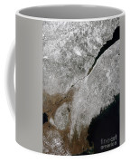 Satellite View Of A Frosty Landscape Coffee Mug by Stocktrek Images