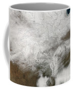 Satellite View Of A Severe Winter Storm Coffee Mug by Stocktrek Images