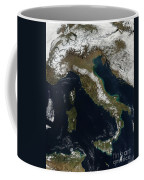Satellite View Of Snow In Italy Coffee Mug