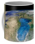 Satellite View Of Swirling Blue Coffee Mug