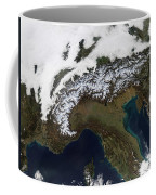 Satellite View Of The Alps Coffee Mug by Stocktrek Images