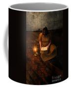 Schoolgirl Sitting On Wood Floor Reading By Candlelight Coffee Mug by Jill Battaglia