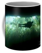 Scuba Diver In The Cavern Part Coffee Mug by Karen Doody