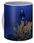 Scuba Diver Swims Underwater Amongst Coffee Mug