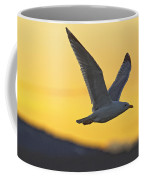 Seagull Flying At Dusk With Sunset Coffee Mug