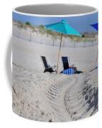 seashore 82 Beach Chairs Beach Umbrella and Tire Treads in Sand Coffee Mug