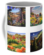 seasonal farm country folk art-set of 4 farms prints amricana American Americana print series Coffee Mug