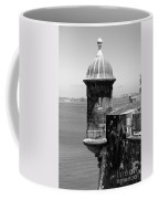 Sentry Tower Castillo San Felipe Del Morro Fortress San Juan Puerto Rico Black And White Coffee Mug