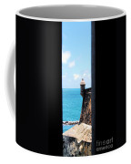 Sentry Tower View Castillo San Felipe Del Morro San Juan Puerto Rico Ink Outlines Coffee Mug