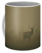 Several Bull Elk Stand In Smoke Coffee Mug by Michael S. Quinton