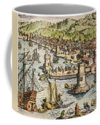 Seville: Departure, 1594. /ndeparture For The New World From Sanlucar De Barrameda, The Port Of Seville, Spain. Line Engraving, 1594, By Theodor De Bry Coffee Mug