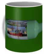 Ship On A Bottle With Green Coffee Mug