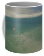 Shrimp Boat Hovers Above Rippled Sand Coffee Mug