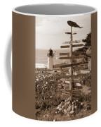 Sign At Point Montara Lighthouse - Sepia Coffee Mug