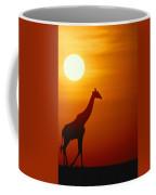 Silhouette Of A Giraffe At Sunrise Coffee Mug
