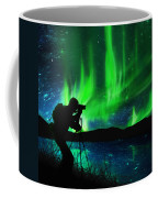 Silhouette Of Photographer Shooting Stars Coffee Mug
