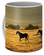 Silhouetted Horses Running Coffee Mug