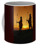 Silhouetted Laikipia Masai Guides Coffee Mug by Richard Nowitz