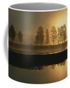 Silhouetted Trees Along The Yellowstone Coffee Mug