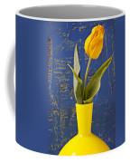 Single Yellow Tulip In Yellow Vase Coffee Mug