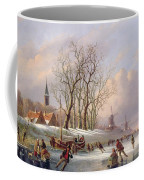 Skaters On A Frozen River Before Windmills Coffee Mug