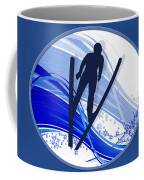 Skiing And Snowflakes Coffee Mug