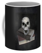 Skull On Books Coffee Mug by Joana Kruse