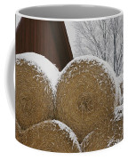 Snow Dusts Rolls Of Hay Coffee Mug