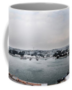 snow in port mahon - A very rare image of a mediterranean villa sided to sea covered of white Coffee Mug