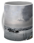 snow in port mahon - A very rare image of a mediterranean villa sided to sea covered of snow Coffee Mug