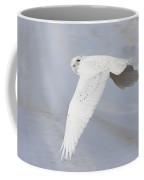 Snowy Owl In Flight In Saskatchewan Canada Coffee Mug
