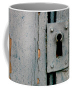 Soft Blue Door And Lock Coffee Mug