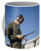 Soldier Conducts A Communications Check Coffee Mug