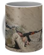 Soldier Fires A Russian Rpk Kalashnikov Coffee Mug