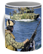 Soldier Mans A M240g Machine Gun While Coffee Mug