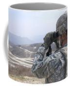 Soldier Observes An Adjust Fire Mission Coffee Mug