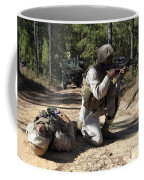Soldier Provides Security To A Casualty Coffee Mug