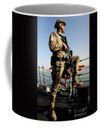 Soldier Stands Watch Aboard Uss Momsen Coffee Mug