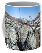 Soldiers Wait For Uh-60 Black Hawk Coffee Mug