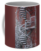 Spiral Staircase With Snow And Cooper's Hawk Coffee Mug