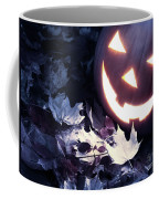 Spooky Jack-o-lantern On Fallen Leaves Coffee Mug