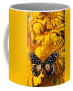 Spotted Butterfly On Yellow Mums Coffee Mug