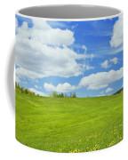 Spring Farm Landscape With Blue Sky In Maine Coffee Mug